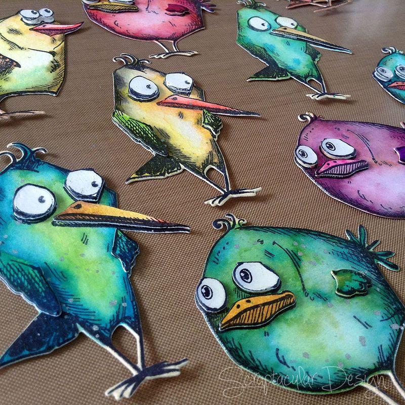 Mixed media Canvas Crazy Birds, stap 14