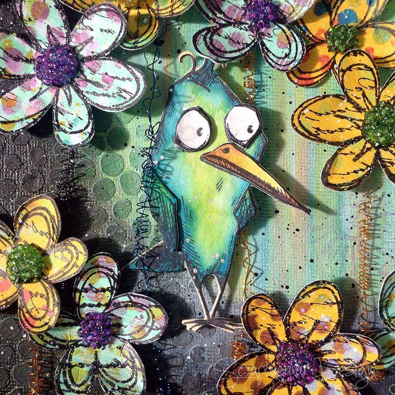 Mixed media Canvas Crazy Birds, stap 23