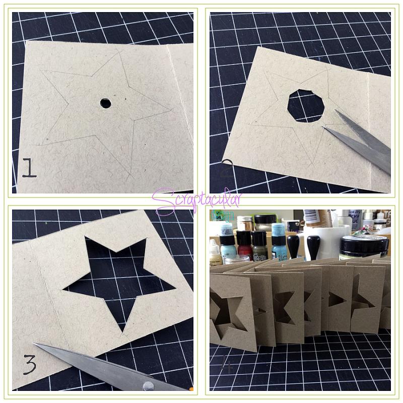 Scraptacular Design Tiny Project Stars9. ster in pagina met schaar