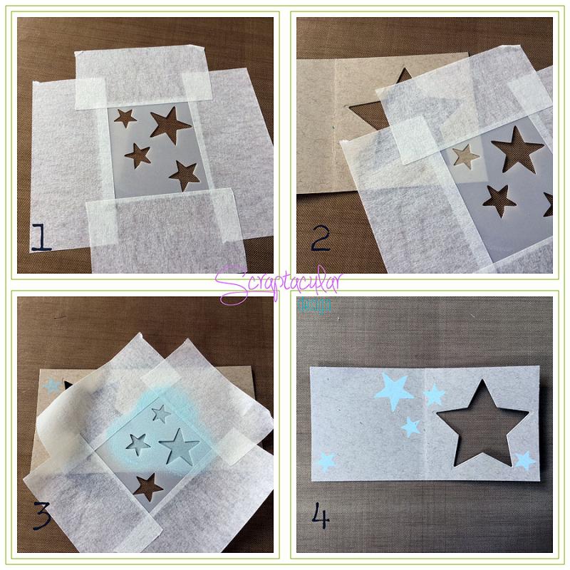 Scraptacular Design Tiny Project Stars10. stencil gebruiken