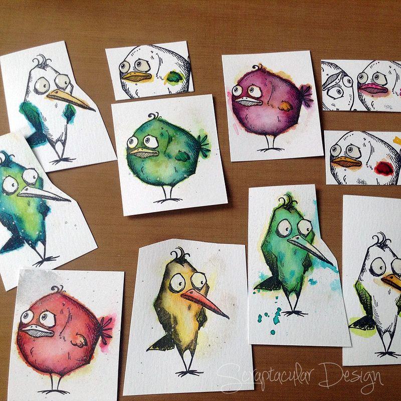 Mixed media Canvas Crazy Birds, stap 12