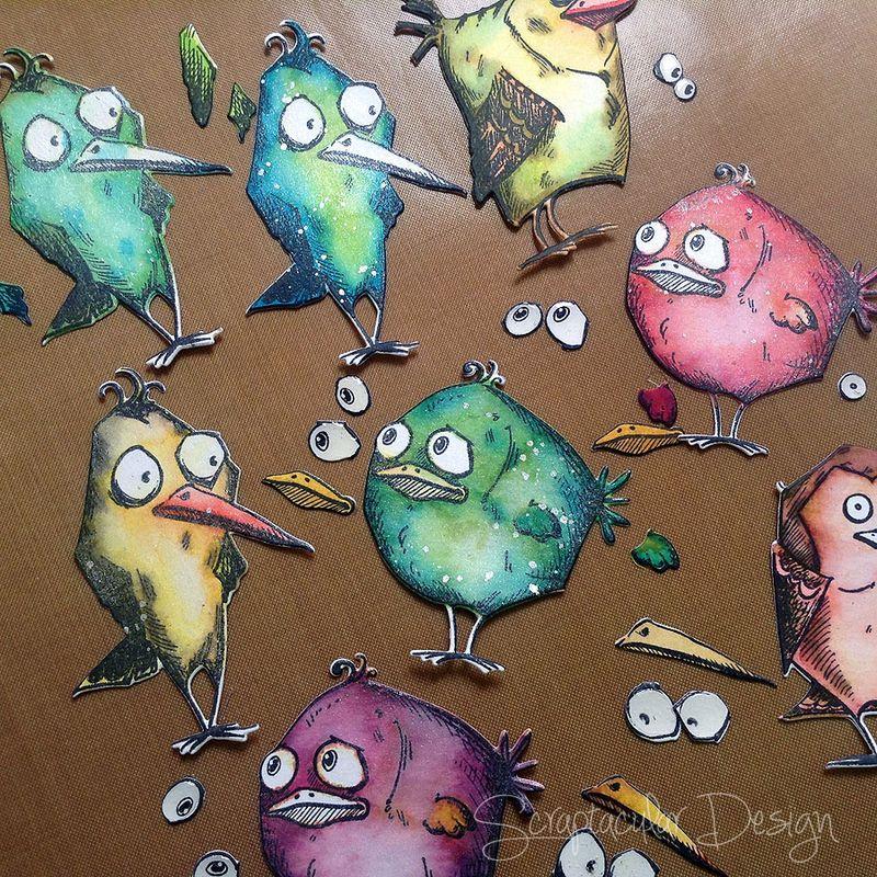 Mixed media Canvas Crazy Birds, stap 13